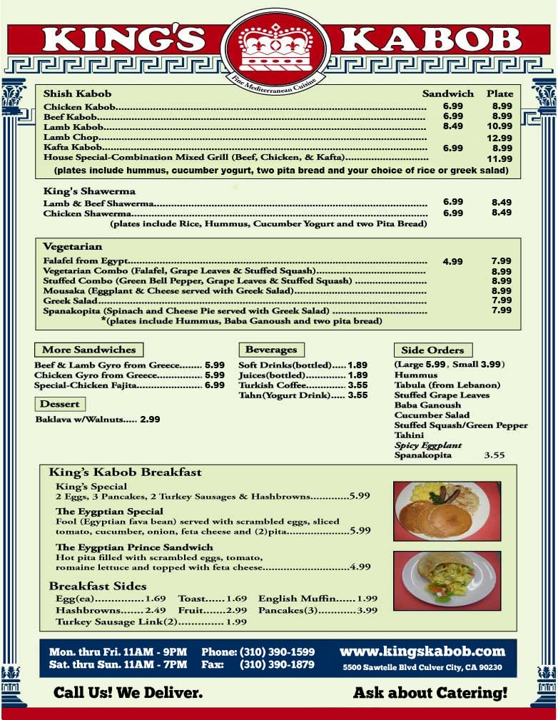 King's Kabob Menu